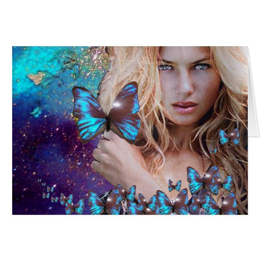 BLUE BUTTERFLY IN TEAL GREEN GOLD SPARKLES CARDS