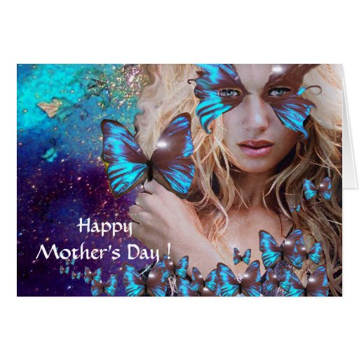 BLUE BUTTERFLY IN TEAL GREEN GOLD SPARKLES GREETING CARD
