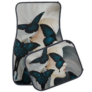 Blue Butterfly Mask Car Mat