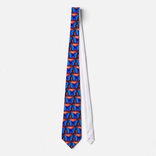 Blue Butterfly Morph Sunset - Multi Neck Tie