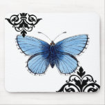 Blue Butterfly Mouse Pads