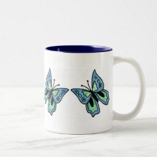 Blue Butterfly Two-Tone Mug