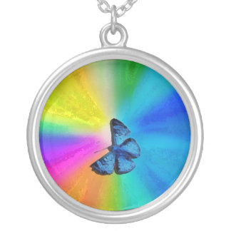 blue butterfly round pendant necklace