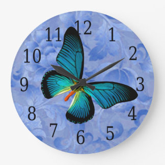 Blue Butterfly On Blue Flowers Clock