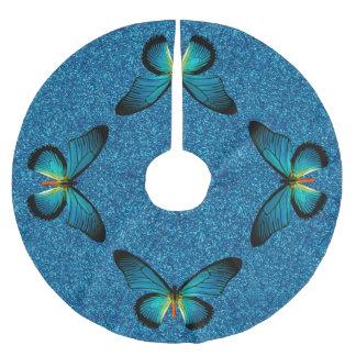Blue Butterfly On Blue Glitter Tree Skirt