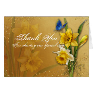 Blue Butterfly on Daffodils Wedding Thank You Card