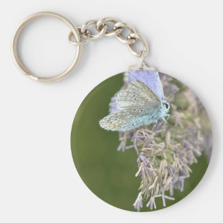 Blue Butterfly on Flower Basic Round Button Key Ring