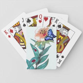 Blue butterfly on flower drawing poker deck