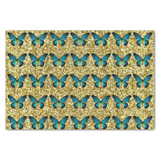 Blue Butterfly On Gold Glitter Tissue Paper