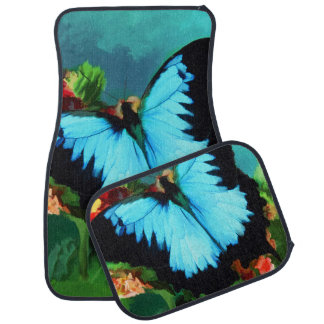 Blue Butterfly on Lantana Plant Oil Painting Car Mat