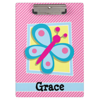 Blue Butterfly on Pink & White Stripes Clipboard