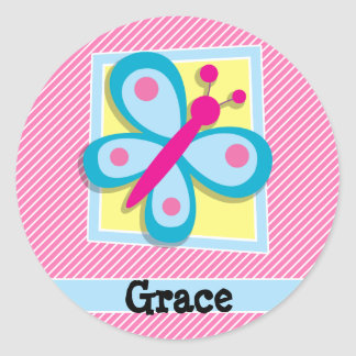 Blue Butterfly on Pink & White Stripes Round Sticker