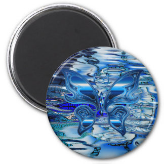 Blue butterfly on water background 6 cm round magnet