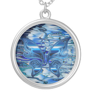 Blue butterfly on water background silver plated necklace