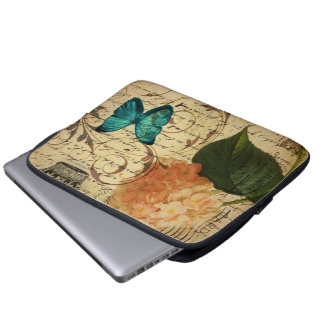 blue butterfly paris scripts french botanical laptop sleeve
