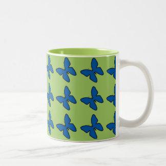 Blue butterfly pattern coffee mug