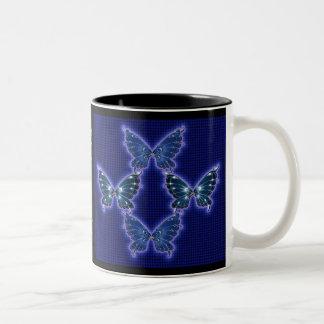 Blue Butterfly Pattern Mug Two-Tone Mug