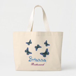Blue Butterfly Personalized Name Bridesmaid Canvas Bags