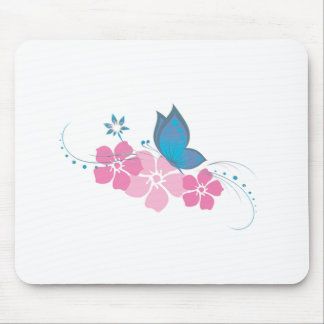 blue butterfly, pink flowers mousemats