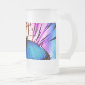 Blue Butterfly Rainbow Frosted Glass Beer Mug