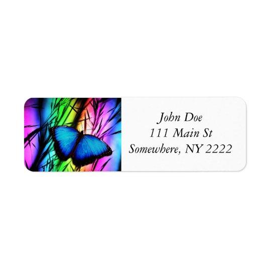 Blue Butterfly Rainbow Return Address Label