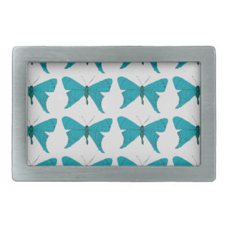 Blue butterfly rectangular belt buckles