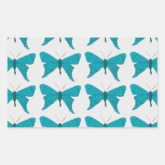 Blue butterfly rectangular sticker