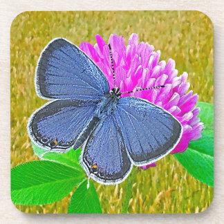 Blue Butterfly Red Clover Cork Coaster