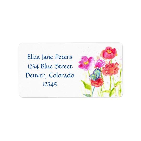 Blue Butterfly Red Poppy Watercolor Flowers Address Label