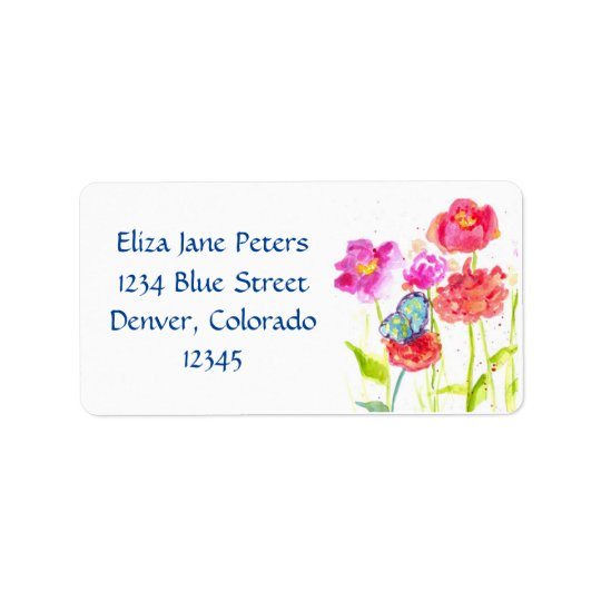 Blue Butterfly Red Poppy Watercolor Flowers Label