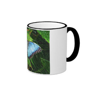 Blue Butterfly Ringer Mug
