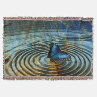 Blue Butterfly Ripple Photography Print Throw Blanket