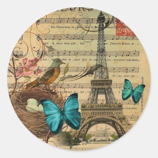 Blue butterfly Robin bird nest Paris Eiffel Tower