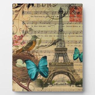 Blue butterfly Robin bird nest Paris Eiffel Tower Plaques