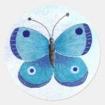 Blue Butterfly Round Sticker