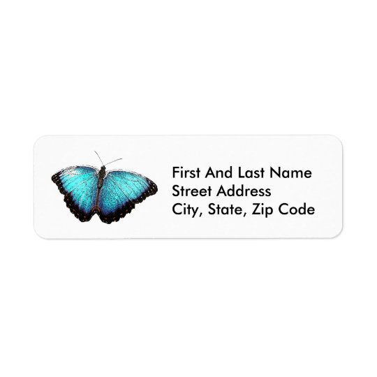 Blue Butterfly Sketch Return Address Label