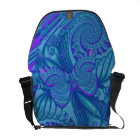 Blue Butterfly & Spirals, Artistic Messenger bag
