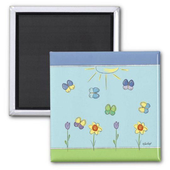 Blue Butterfly Spring Magnet