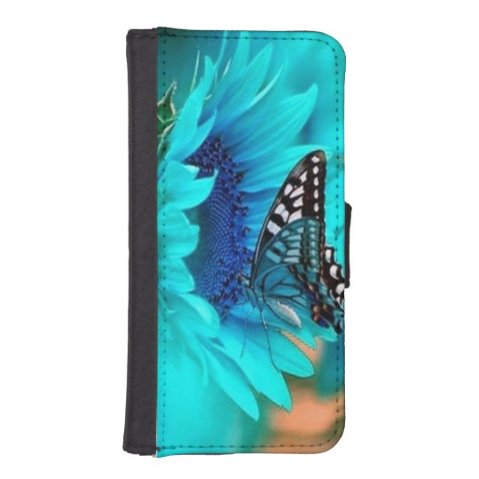 Blue, Butterfly, Sunflower iPhone 5/5S Wallet Case