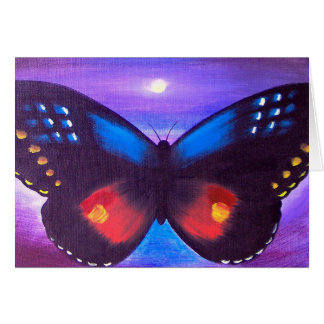Blue Butterfly Sunset Painting - Multi Greeting Card