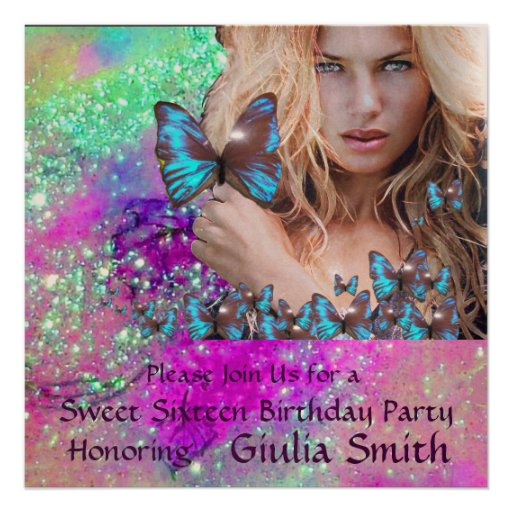 BLUE BUTTERFLY SWEET 16 PARTY  MONOGRAM,Champagne Custom Invitation
