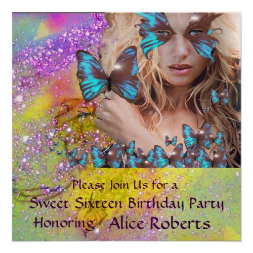 BLUE BUTTERFLY SWEET 16 PARTY  MONOGRAM,Champagne Personalized Invitation