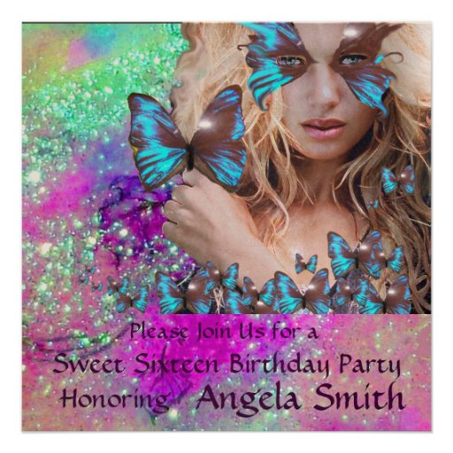 BLUE BUTTERFLY SWEET 16 PARTY  MONOGRAM,Champagne Personalized Announcements