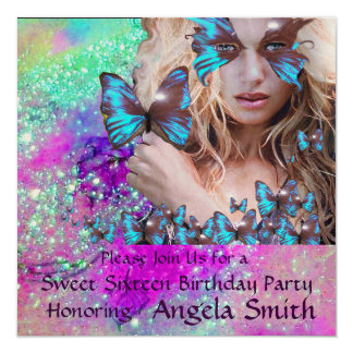 BLUE BUTTERFLY SWEET 16 PARTY  MONOGRAM,GOLD PERSONALIZED INVITE