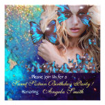 BLUE BUTTERFLY SWEET 16 PARTY  MONOGRAM INVITES
