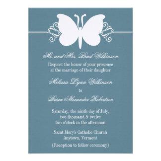 Blue Butterfly Swirls Wedding Invite