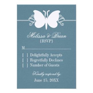 Blue Butterfly Swirls Wedding Response Card Custom Invite