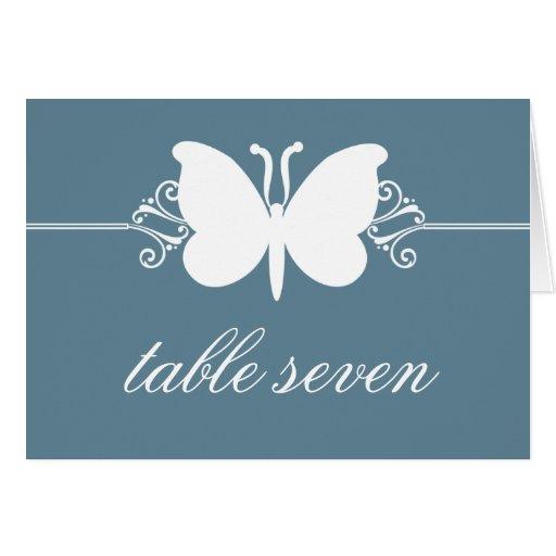 Blue Butterfly Swirls Wedding Table Card