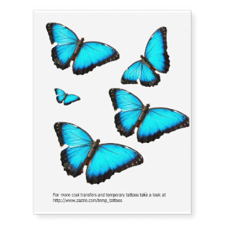 Blue butterfly transfers and temporary tattoos