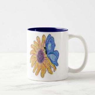 Blue Butterfly Two-Tone Coffee Mug